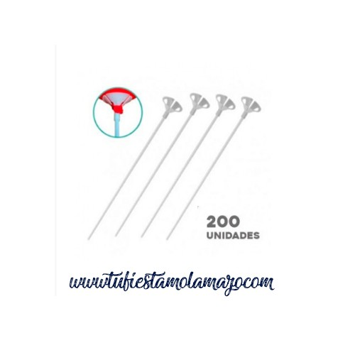 Pack de 200 Varillas Portaglobos Color Blanco de 40cm
