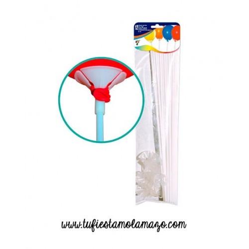 Pack de 12 Varillas para globos Blanco