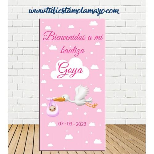 Cartel Bienvenida de Bautizo de cigüeña de niña