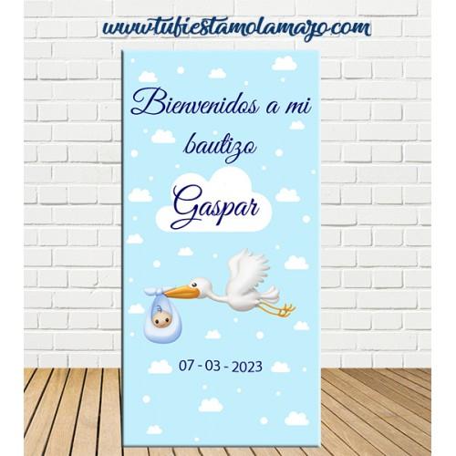 Cartel Bienvenida de Bautizo cigüeña niño