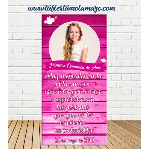 Cartel Bienvenida de Comunión de madera rosa