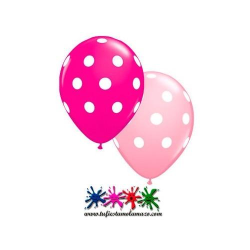 16 x Globo de látex rosa oscuro y claro con topos blancos