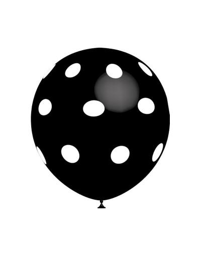 Globo de látex Negro Lunares Blancos