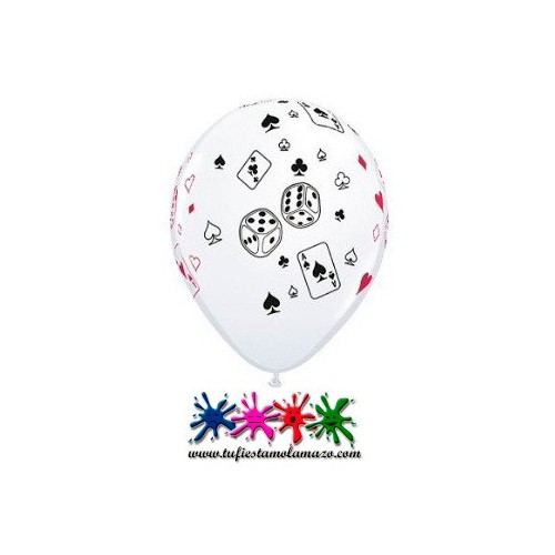 Globo látex con símbolos de Póquer