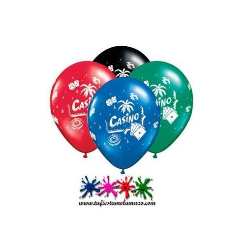 """25 x Globo látex de colores con la palabra """"Casino"""""""