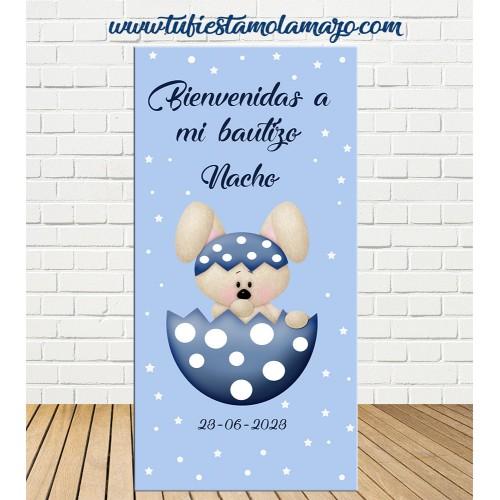 Cartel Bienvenida de Bautizo Conejo niño