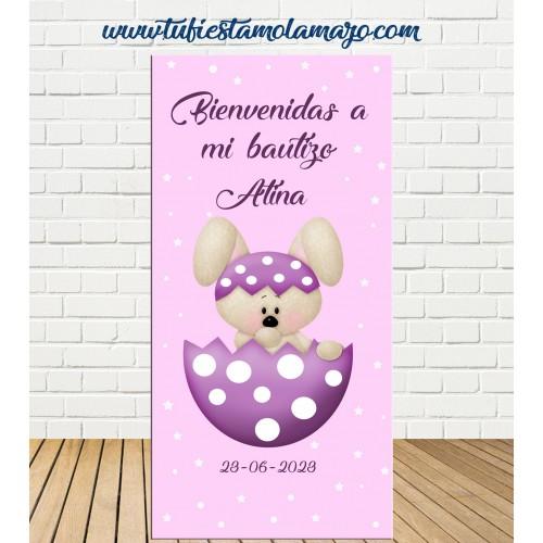 Cartel Bienvenida de Bautizo Conejo niña