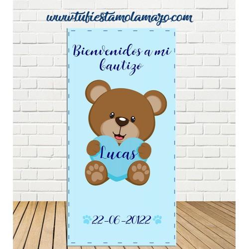 Cartel Bienvenida de Bautizo Oso niño