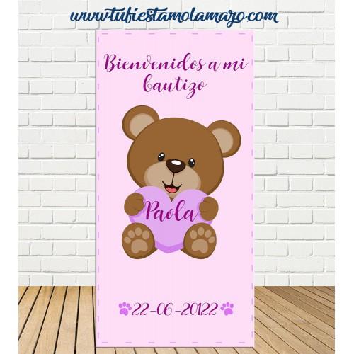 Cartel Bienvenida de Bautizo Osa niña