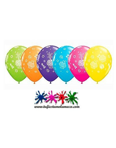 25 x Globos de látex de colores con magdalenas y regalos