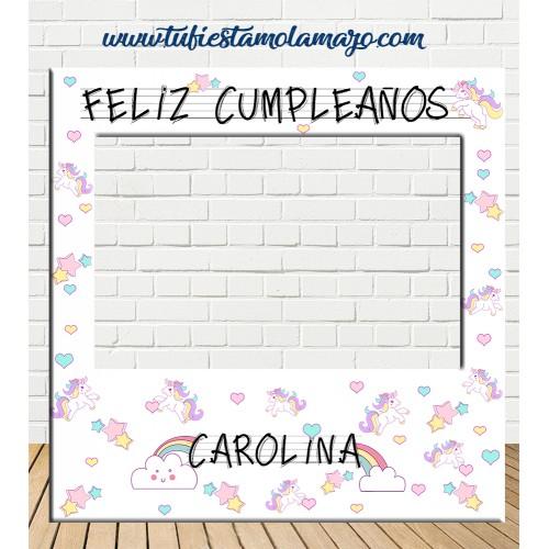 Photocall de marco de Cumpleaños de Unicornios