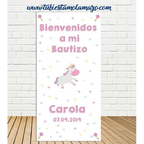 Cartel Bienvenida de Bautizo Unicornio niña